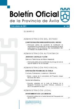 Boletín Oficial de la Provincia del martes, 5 de octubre de 2021