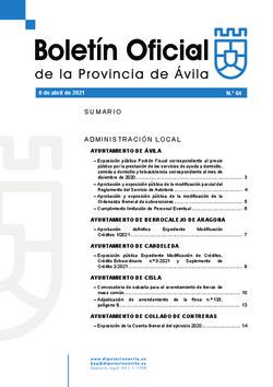 Boletín Oficial de la Provincia del martes, 6 de abril de 2021
