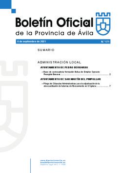 Boletín Oficial de la Provincia del lunes, 6 de septiembre de 2021