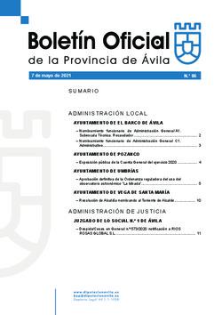 Boletín Oficial de la Provincia del viernes, 7 de mayo de 2021