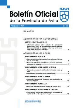 Boletín Oficial de la Provincia del lunes, 7 de junio de 2021