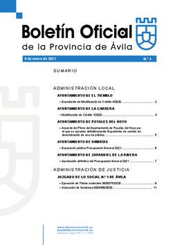 Boletín Oficial de la Provincia del viernes, 8 de enero de 2021