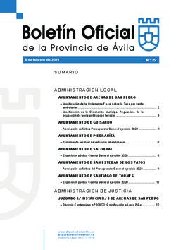 Boletín Oficial de la Provincia del lunes, 8 de febrero de 2021