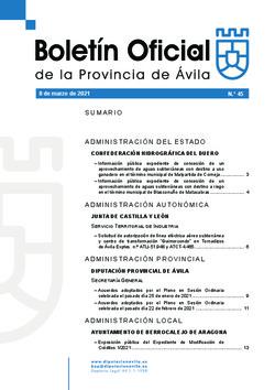 Boletín Oficial de la Provincia del lunes, 8 de marzo de 2021