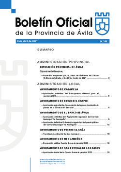 Boletín Oficial de la Provincia del jueves, 8 de abril de 2021