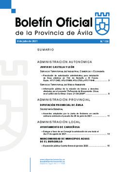 Boletín Oficial de la Provincia del jueves, 8 de julio de 2021