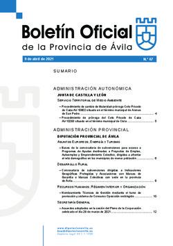 Boletín Oficial de la Provincia del viernes, 9 de abril de 2021