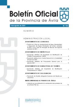 Boletín Oficial de la Provincia del lunes, 9 de agosto de 2021