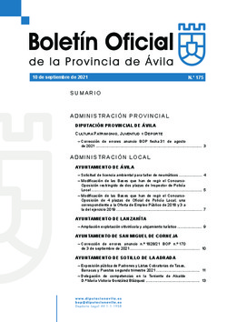 Boletín Oficial de la Provincia del viernes, 10 de septiembre de 2021