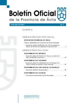 Boletín Oficial de la Provincia del lunes, 11 de enero de 2021