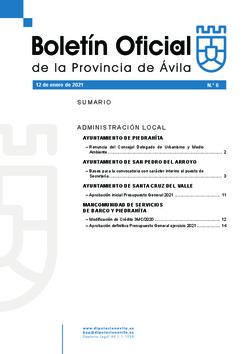 Boletín Oficial de la Provincia del martes, 12 de enero de 2021