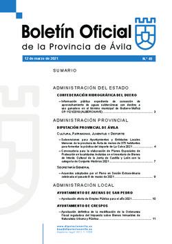 Boletín Oficial de la Provincia del viernes, 12 de marzo de 2021