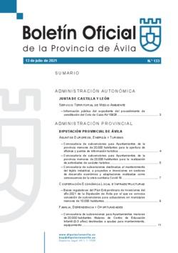 Boletín Oficial de la Provincia del martes, 13 de julio de 2021