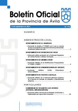 Boletín Oficial de la Provincia del lunes, 13 de septiembre de 2021