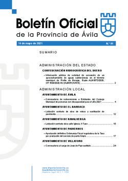 Boletín Oficial de la Provincia del viernes, 14 de mayo de 2021