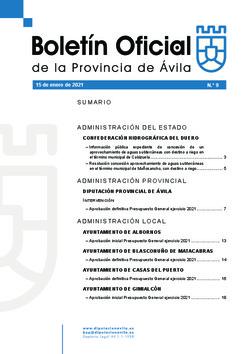 Boletín Oficial de la Provincia del viernes, 15 de enero de 2021