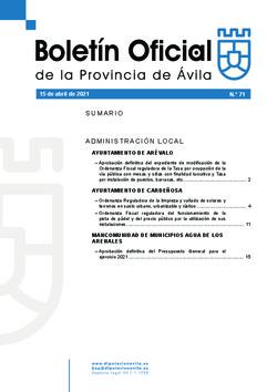 Boletín Oficial de la Provincia del jueves, 15 de abril de 2021