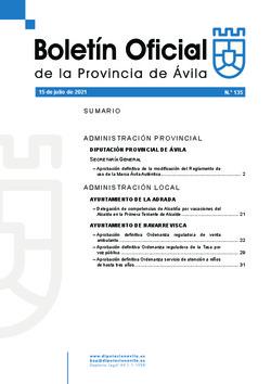 Boletín Oficial de la Provincia del jueves, 15 de julio de 2021