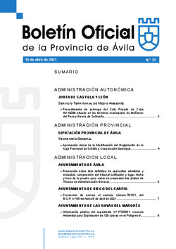 Boletín Oficial de la Provincia del viernes, 16 de abril de 2021