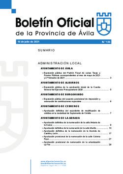 Boletín Oficial de la Provincia del viernes, 16 de julio de 2021