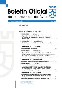 Boletín Oficial de la Provincia del jueves, 16 de septiembre de 2021