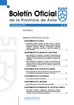 Boletín Oficial de la Provincia del viernes, 19 de febrero de 2021