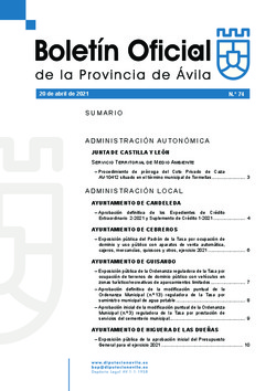 Boletín Oficial de la Provincia del martes, 20 de abril de 2021