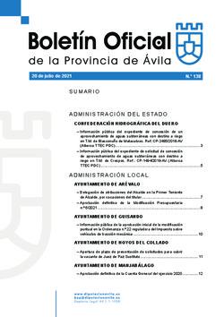 Boletín Oficial de la Provincia del martes, 20 de julio de 2021
