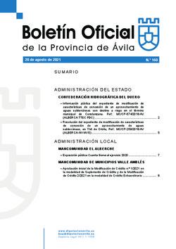 Boletín Oficial de la Provincia del viernes, 20 de agosto de 2021
