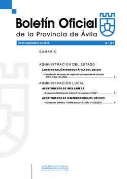 Boletín Oficial de la Provincia del lunes, 20 de septiembre de 2021