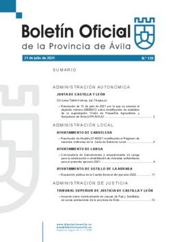 Boletín Oficial de la Provincia del miércoles, 21 de julio de 2021