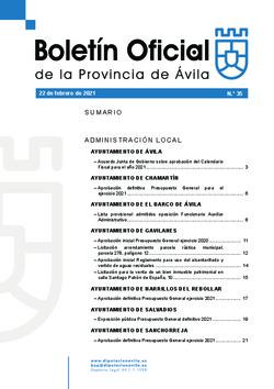 Boletín Oficial de la Provincia del lunes, 22 de febrero de 2021