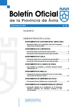 Boletín Oficial de la Provincia del lunes, 22 de marzo de 2021