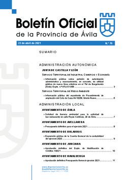 Boletín Oficial de la Provincia del jueves, 22 de abril de 2021