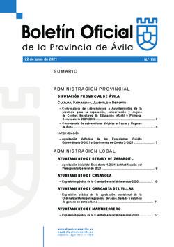 Boletín Oficial de la Provincia del martes, 22 de junio de 2021