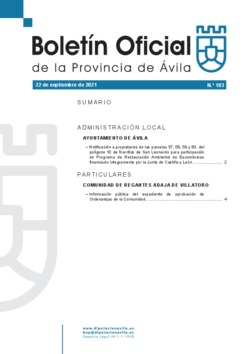 Boletín Oficial de la Provincia del miércoles, 22 de septiembre de 2021
