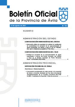 Boletín Oficial de la Provincia del lunes, 23 de agosto de 2021