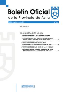 Boletín Oficial de la Provincia del jueves, 23 de septiembre de 2021
