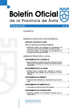 Boletín Oficial de la Provincia del lunes, 24 de mayo de 2021