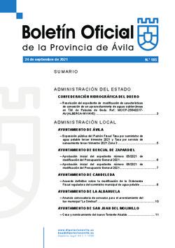 Boletín Oficial de la Provincia del viernes, 24 de septiembre de 2021