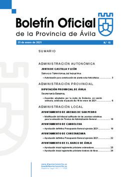 Boletín Oficial de la Provincia del lunes, 25 de enero de 2021