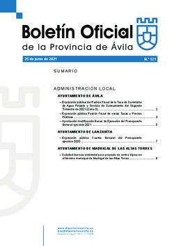 Boletín Oficial de la Provincia del viernes, 25 de junio de 2021