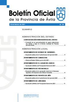 Boletín Oficial de la Provincia del viernes, 26 de febrero de 2021
