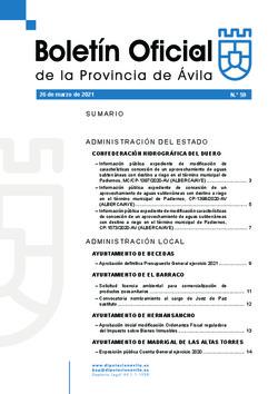 Boletín Oficial de la Provincia del viernes, 26 de marzo de 2021