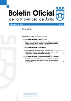 Boletín Oficial de la Provincia del lunes, 26 de abril de 2021