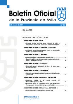 Boletín Oficial de la Provincia del lunes, 26 de julio de 2021