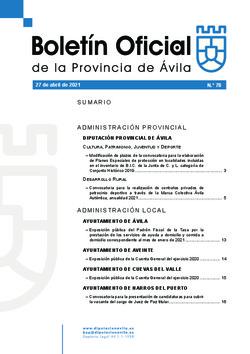 Boletín Oficial de la Provincia del martes, 27 de abril de 2021