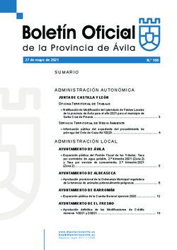 Boletín Oficial de la Provincia del jueves, 27 de mayo de 2021