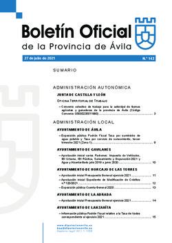 Boletín Oficial de la Provincia del martes, 27 de julio de 2021