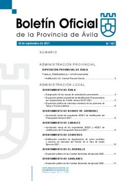 Boletín Oficial de la Provincia del martes, 28 de septiembre de 2021